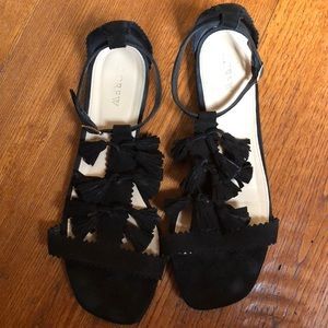 Cute Fringe J. Crew Black Sandals